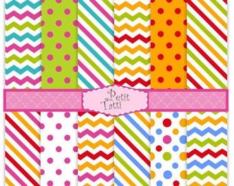 ON SALE Digital paper pack, digital background-color 04, cute digital paper, blue, green, orange, summer color,chevron, stripe, polkadots