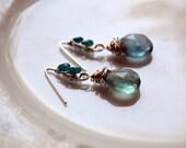 Fluorite and blue apatite sterling silver wire wrapped dangle earrings, fluorite jewelry, blue apatite jewelry