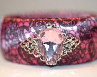 Satin  Pink Lace Bangle , Pink Briolette Bangle