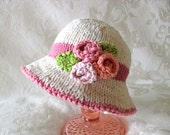 Knitted Baby Hat Knitting Knit Baby Hat Knitted Baby Hats Knitted Brimmed Hat Knit Roses Baby Hat Cotton Knitted Baby Hat Flower Baby Hat