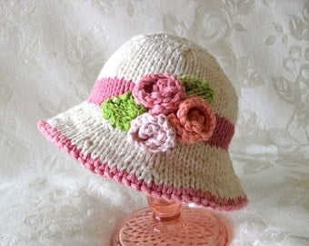 Knitted Baby Hat Knitting Knit Baby Bonnet Knitted Baby Hats Knitted Brimmed Hat Knit Roses Baby Hat Cotton Knitted Baby Hat Flower Baby Hat