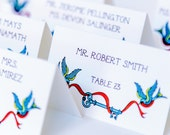Tattoo Place Card Wedding Decor Escort Seating Name Custom Personalize Old School Swallows Banner Key