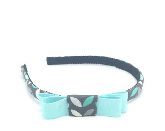 Leaf Bow Headband - Leaf / Sprout Print Headband in gray & mint with bow accent - Girl Headband - Adult Headband - Back to School Headband