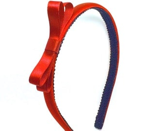 Valentines Day Red Bow Headband  - Satin Skinny Red Headband w/ Small Classic Bow - Holiday Headband - little or big girls headbands, adult