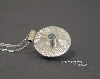 Aquamarine & Sterling Silver Pendant, March Birthstone, Silver Disc Jewelry, Fabricated, Metalwork
