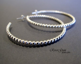 Extra Large Sterling Silver Hoop Earrings, Open Hoops, Hoop Stud Earrings, Handmade by RiverGum Jewellery, MADE to ORDER