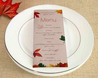Wedding Menu, Wedding menu card, Printable menu, menu card, printable menu card, party menu, wedding set, fall wedding, autumn wedding