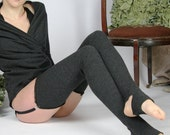 felted wool stockings with garter belt and footie cut out - SHEPARD - made to order and ready to ship