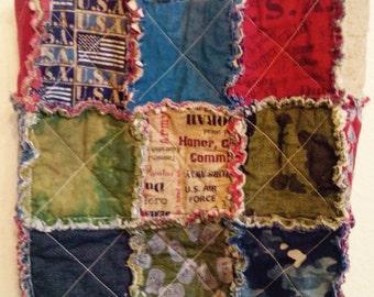 Because of the Brave patriotic reversible floral rag bag tote