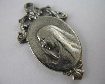 Vintage Inspired French Religious Medal Silver Religious Jewelry Religious Supplies GL7