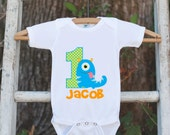 First Birthday Monster Outfit - Personalized Bodysuit For Boy's 1st Birthday Party - Little Monster Onepiece Birthday Outfit With Name & Age