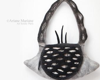 Art Bag Women, Sculptural Felt Handbag, Embroidered Felt Designer Bag Paris, Sustainable Green Design, Piece Unique, Gray Black