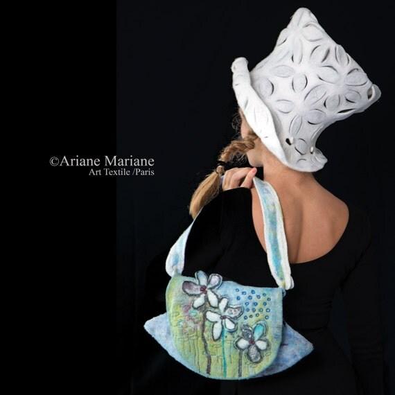 Romantic Floral Felt Bag