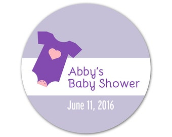 Custom Baby Shower Stickers - Favor Labels - Personalized Stickers - Custom Labels - Onesie Design - Choose Your Colors!