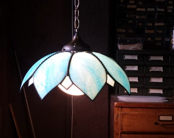 Stained Glass Pendant Lamp, Sky Blue Swag Lamp, Vintage hanging Lamp