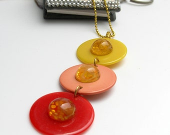 """Groovy Retro Poker Chip Necklace- Red, Peach and Yellow with Vintage """"Marbled"""" Yellow Cabochons on Gold Plated Ball Chain-16 Inch"""