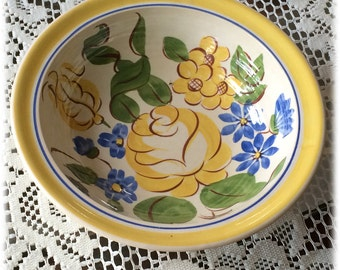 Red Wing China BRITTANY VEGETABLE BOWL Yellow Rose Blue Flowers Handpainted