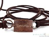 Breathe boho wrap bracelet // hand stamped natural brass & micro fiber suede cord // handmade jewelry // unisex // ready to ship