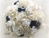 Brooch Bouquet, Ivory, Cream, White, Navy Blue, Wedding, Bridal, Jeweled, Pearls, Lace, Crystals, Vintage Wedding, Gatsby, Elegant