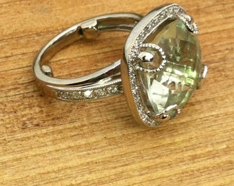 6.45 Green Amethyst & Diamond Ring 14K White Gold Set