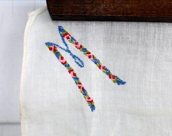 Monogramed M Handkerchief - Hand Embroidered Linen Hanky - Vintage 1950s 50s