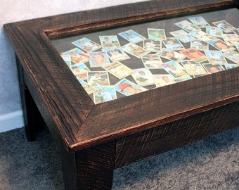 Display Coffee Table With Glass Top Dark Brown Finish Handmade