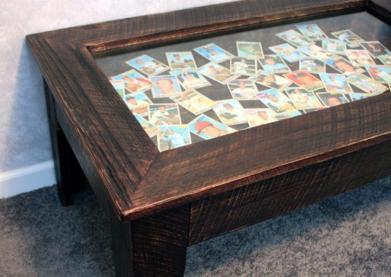 Display Coffee Table With Glass Top Dark Brown Finish