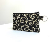 Scroll Zippered Bag in Black, Gold and Ivory / Coin Purse / ID Case / Gadget Pouch with Split Ring - Ready to Ship