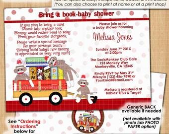 Bring a book baby shower invitation book shower sock monkey monkeys sockmonkey red brown polka dots Personalized DIGITAL INVITATIONS #075