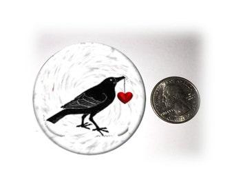 Goth Raven Heart Refrigerator Magnet Raven Locker Magnet  2 1/4 inches in Diameter (57)