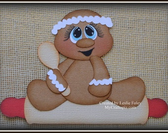 Gingerbread Rolling Pin Christmas Premade Scrapbooking Embellishment Paper Piecing
