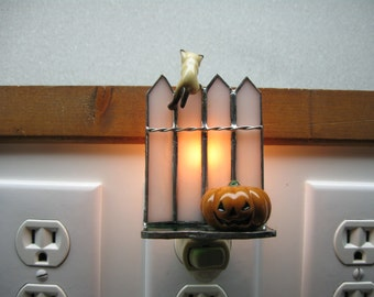 Halloween Stained Glass night light with siamese hanging kitten and pumpkin