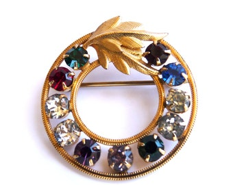 Vintage Brooch Van Dell Brooch 14K Gold Filled Rhinestone Emerald, Ruby, Amethyst, London Blue Victorian Jewelry