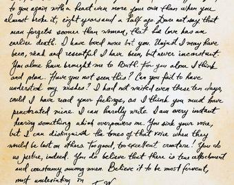 Captain Wentworth's Letter Art Print.  Size 8x10 art print.  Size 16x20 Poster.  VERTICAL. Jane Austen art. Persuasion.