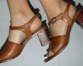 Vintage Mid 1960's Chunky Leather Stacked Heel Sandals Size 7 made in Brazil