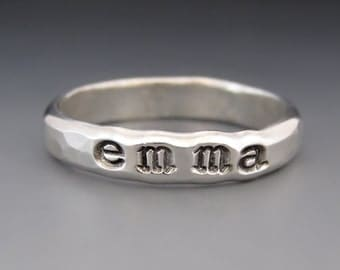 ONE Personalized Sterling Silver Name Ring / Mother's Ring / Stacking Name Ring / Mother's Day Gift / Children's Name Ring / Gifts for Her