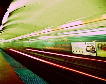 Chicago Photograph- Chicago Subway Art- The Red Line-     8x8 crimson and lime green photo of Chicago subway train