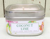 Coconut Lime Soy Candle 8 oz. - Green Daffodil Soy Candleworks - Handpoured - Siouxsan and Anne -C8