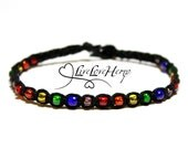Tiny Rainbow Glass Beads with Black Hemp Bracelet - Rainbow Bracelet, Rainbow Jewelry, Colorful Bracelet