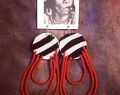 Zebra leather earrings