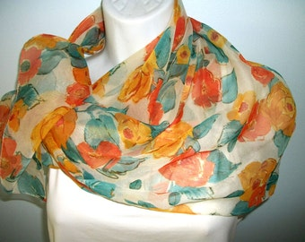 "Art of the Rack 30"" square Scarf  semi sheer floral"