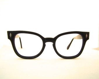 1950s  Key Hole  Eyeglasses // 40s 50s Vintage Frames // Black