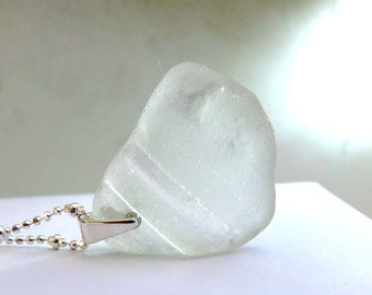 Seaglass Necklace, White Seaglass Necklace, Sterling Silver, Natural Sea Glass, White Beach Glass -  Rugged Coast