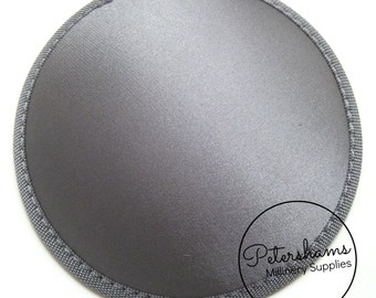 Satin 14cm Round Fascinator Hat Base for Hat Making Millinery - Grey