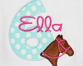 Horse Birthday Shirt, Girl's Horse Birthday Shirt, Custom Horse Birthday Shirt, Any Age, You Pick Fabrics and Font
