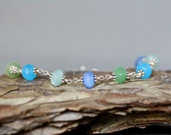 Blue Quartz Bracelet - Bali Silver Bracelet - Blue Gemstone Bracelet - Silver Wire Wrap Bracelet - Multi Color Bracelet - Quartz Jewelry