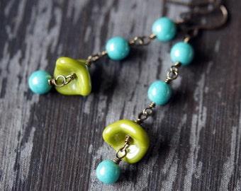 Little Flower Earrings - Boho Earrings - Olive Green and Turquoise Pearl - Wire Wrap Earrings - Bead Soup Jewelry