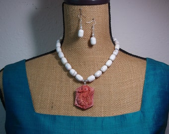 Native American Indian Natural Handcarved Seahorse, White Buffalo Gemstones, 925 Silver Necklace and Earrings