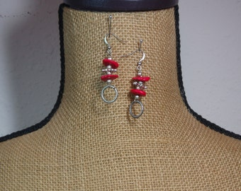 Natural AAA Red Coral,925 Silver Earrings