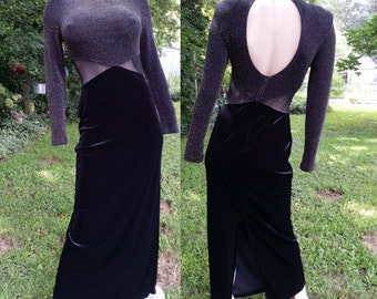 Sexy 80s Dress, 80s Evening Dress, Vintage Dress, Cut Out Dress, Open Back Dress with Original Tag in Black & Gold by Tower Size M-XL